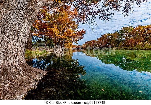 Fall foliage en el río Frito, TX - csp28163748