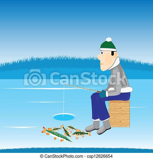 Pesca de invierno en el río - csp12626654