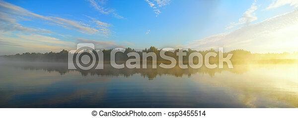 río, mañana, pesca, antes - csp3455514