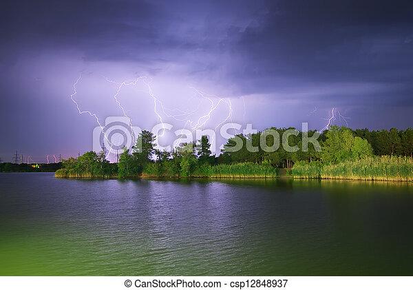 río, relámpago - csp12848937