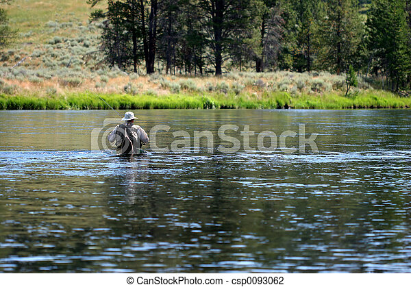 Wading in Yellowstone River - csp0093062