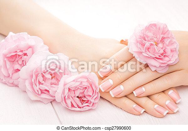 róża, flowers., manicure, francuski, zdrój - csp27990600
