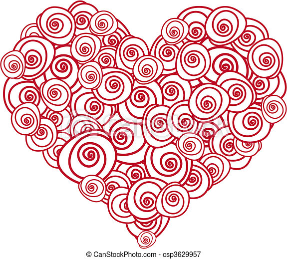 róża, serce - csp3629957