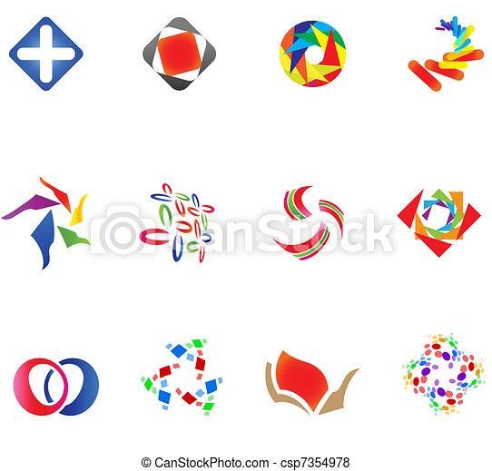 różny, 12, barwny, wektor, symbols:, (set, 14) - csp7354978