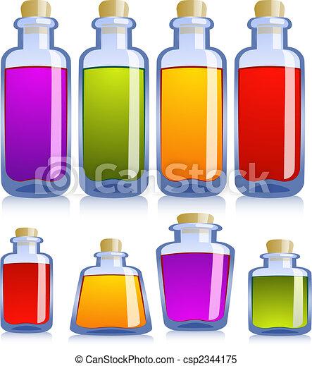 różny, butelki, zbiór - csp2344175