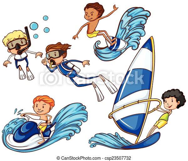 różny, cieszący się, watersports, dzieciaki - csp23507732