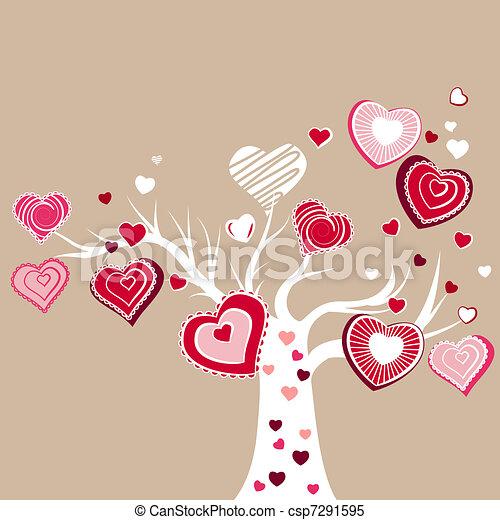 różny, drzewo, stylizowany, rozkwiecony, serca, czerwony - csp7291595