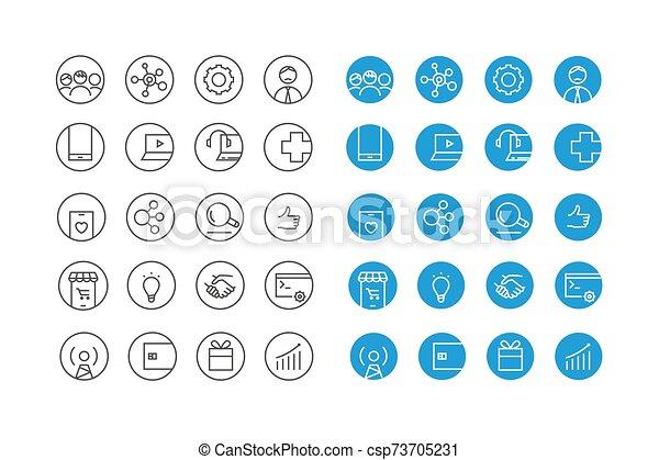 różny, komplet, wektor, ikony, koło - csp73705231