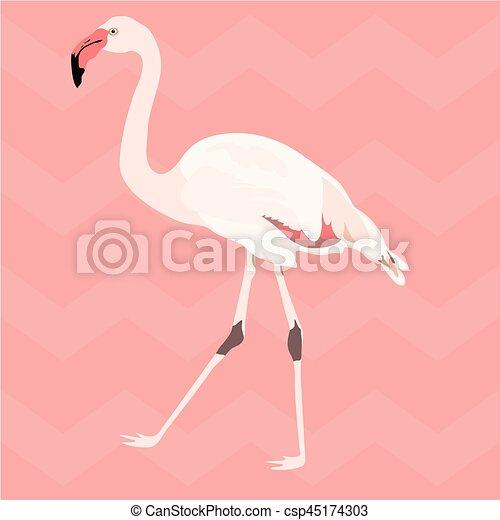 różowy, flamingo., próbka, seamless, ręka, pociągnięty - csp45174303