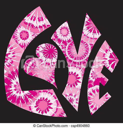 różowy, krawat, symbol, miłość, farbowany - csp4904860