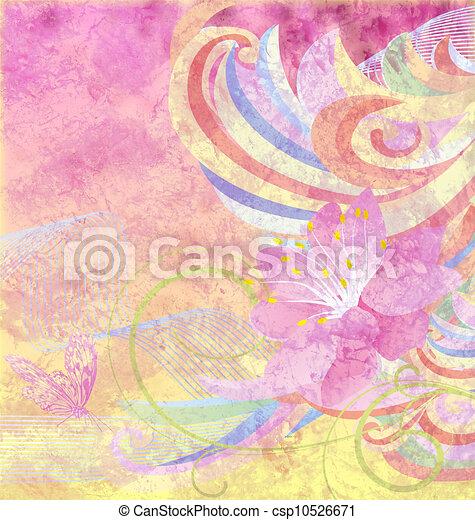 różowy kwiat, grunge, abstrakcyjny, krzywe, papier, żółte tło - csp10526671
