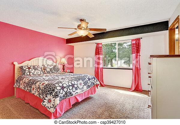 Różowy Podłoga Nowoczesny Sypialnia Biały Meble Dywan
