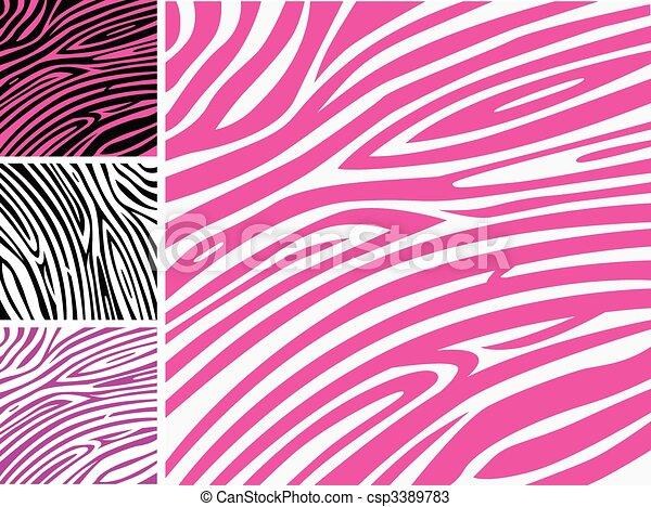 różowy, próbka, zebra, zwierzę skóra odcisk - csp3389783