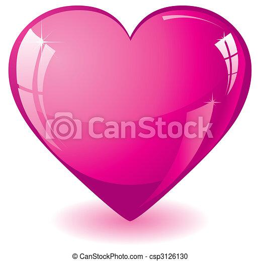 różowy, serce, blask - csp3126130
