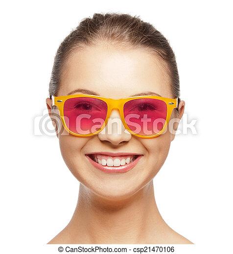 różowy, teenage, sunglasses, uśmiechnięta dziewczyna - csp21470106