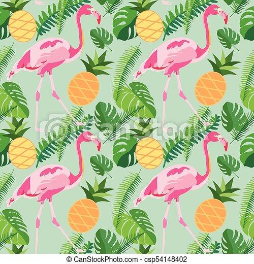 różowy, tropikalny, ananasy, próbka, liście, seamless, czerwonaki, dłoń, modny - csp54148402