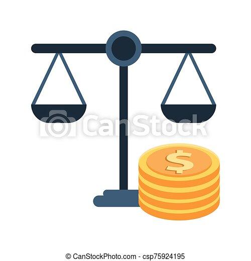równość, dolary, monety, waga - csp75924195