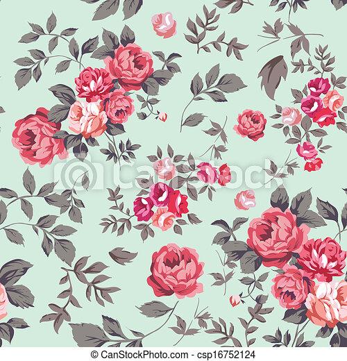 rózsa, seamless, motívum - csp16752124