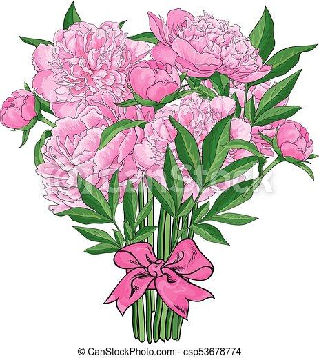 rózsaszínű, babarózsa, csokor, bekötött, menstruáció, szalag - csp53678774