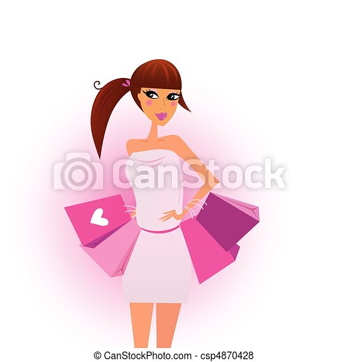 rózsaszínű, bevásárlás, lány, pantalló - csp4870428
