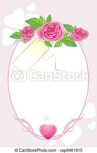 rózsaszínű, csokor, kártya, agancsrózsák - csp9461915