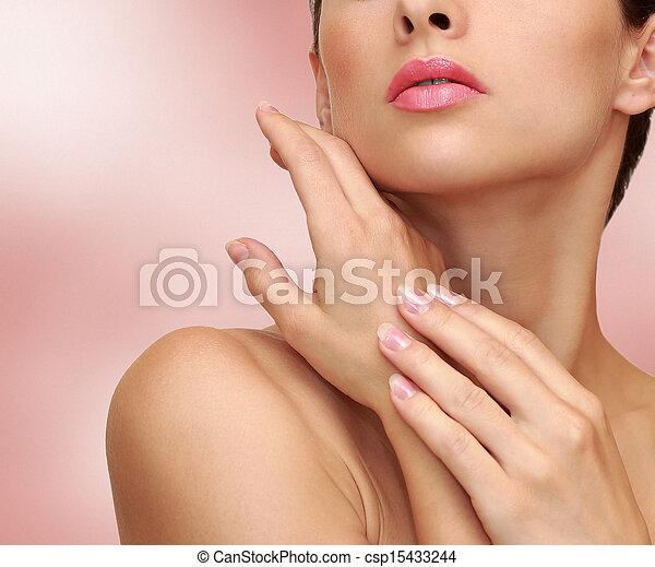 rózsaszínű, nő, szépség, bőr, egészség, háttér, kézbesít - csp15433244
