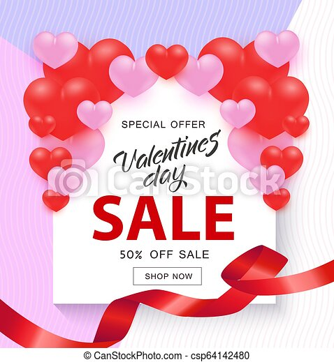 rózsaszínű, ribbon., vásár cégtábla, alakít, piros, fehér, kedves, transzparens, nap, piros - csp64142480