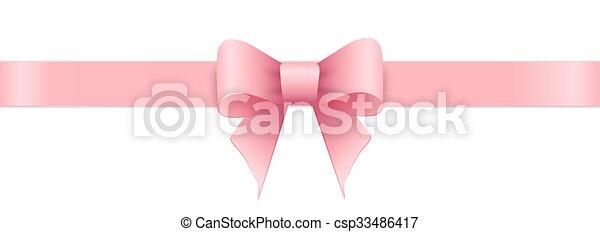 rózsaszínű, valentines, íj, day., háttér., fehér - csp33486417