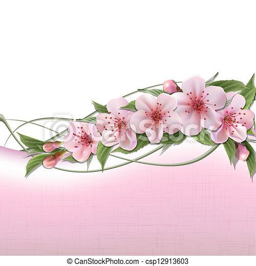 rózsaszínű, visszaugrik virág, háttér, cseresznye - csp12913603