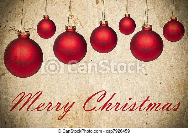 röd grunge, agremanger, bakgrund, jul - csp7926459