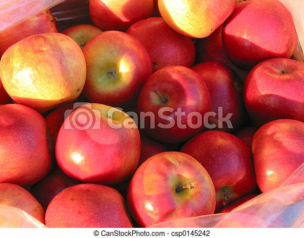 röda äpplen, marknaden, bonde - csp0145242