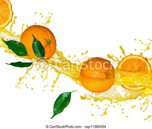 rörelse, juice, plaska, apelsin, frukter - csp11360434