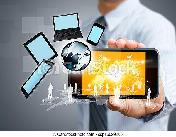 rörlig telefonera, begrepp, affär - csp15029206