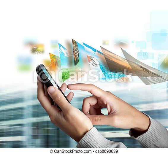rörlig telefonera, sända, bild - csp8890639