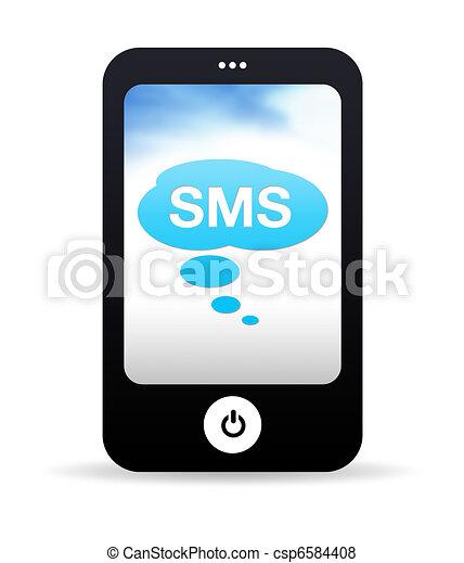 rörlig telefonera, sms - csp6584408