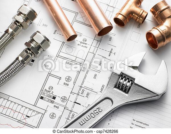 rørarbejde, udrustning, planer, hus - csp7428266