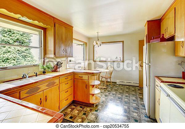 Cocina con armarios rústicos de almacenamiento - csp20534755