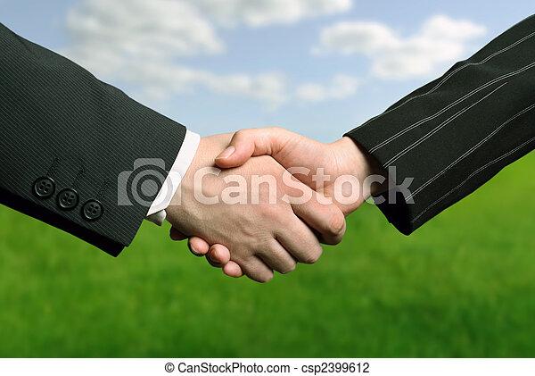 ręka, handlowy, potrząsanie - csp2399612