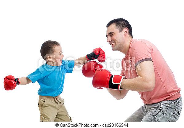 rękawiczki, gra, boks, ojciec, koźlę - csp20166344