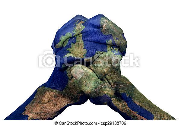 ręki obciskane, europa, (furnished, nasa), wzorzysty, mapa - csp29188706