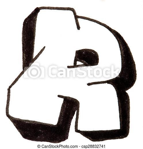 R Alphabet Style Graffiti Lettre Style Graffity Peint