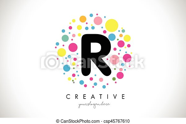 R bubble dots letter logo design with creative colorful vector