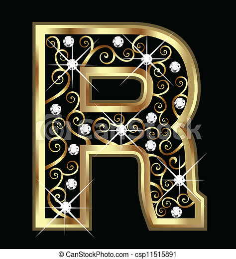 R gold letter with swirly ornaments - csp11515891