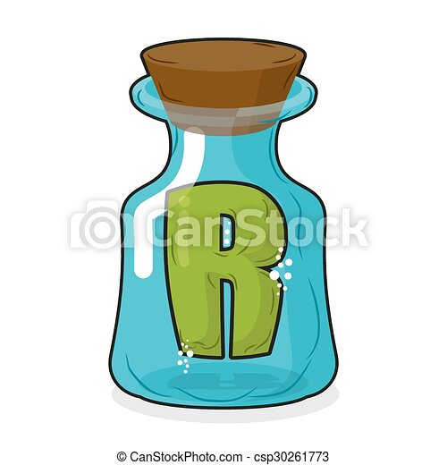 R in magic jar. Letter to a lab for tests and research bottle. Glass bottle with a cork. Magic transparent bulb - csp30261773