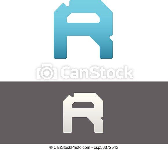 R Letter Alphabet Abstract vector text logo - csp58872542