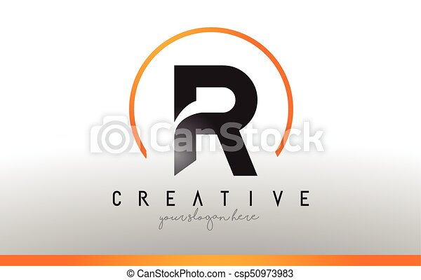 R Letter Logo Design With Black Orange Color Cool Modern Icon Template