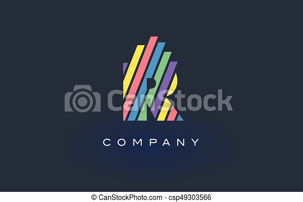 Drawing Lines In R : R letter logo with colorful lines design vector rainbow clip