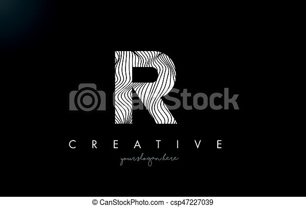 Drawing Lines In R : R letter logo with zebra lines texture design vector vectors