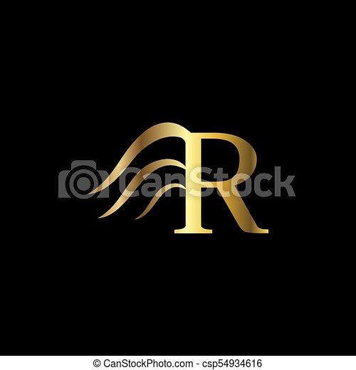 R Letter Wings Logo Design Template Luxury Monogram Fashion Emblem