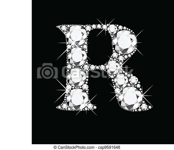 R letter with diamonds - csp9591648